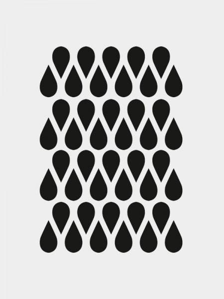 Mini Tropfen Wandsticker, schwarz, selbstklebend