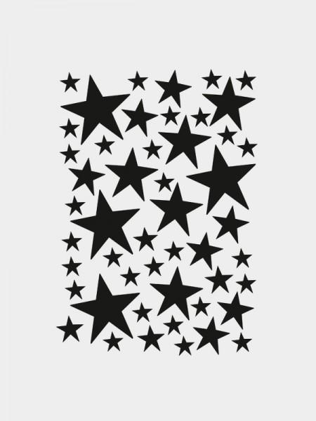 Mini Sterne Wandsticker, schwarz, selbstklebend